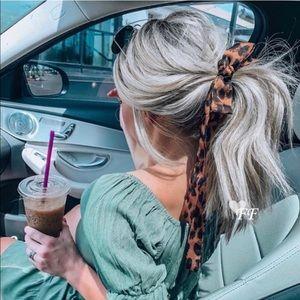 Leopard chiffon hair tie scrunchie.
